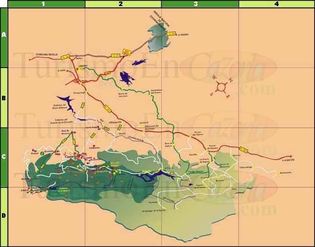 Mapa de accesos al Parque Natural de Sierra de Cazorla